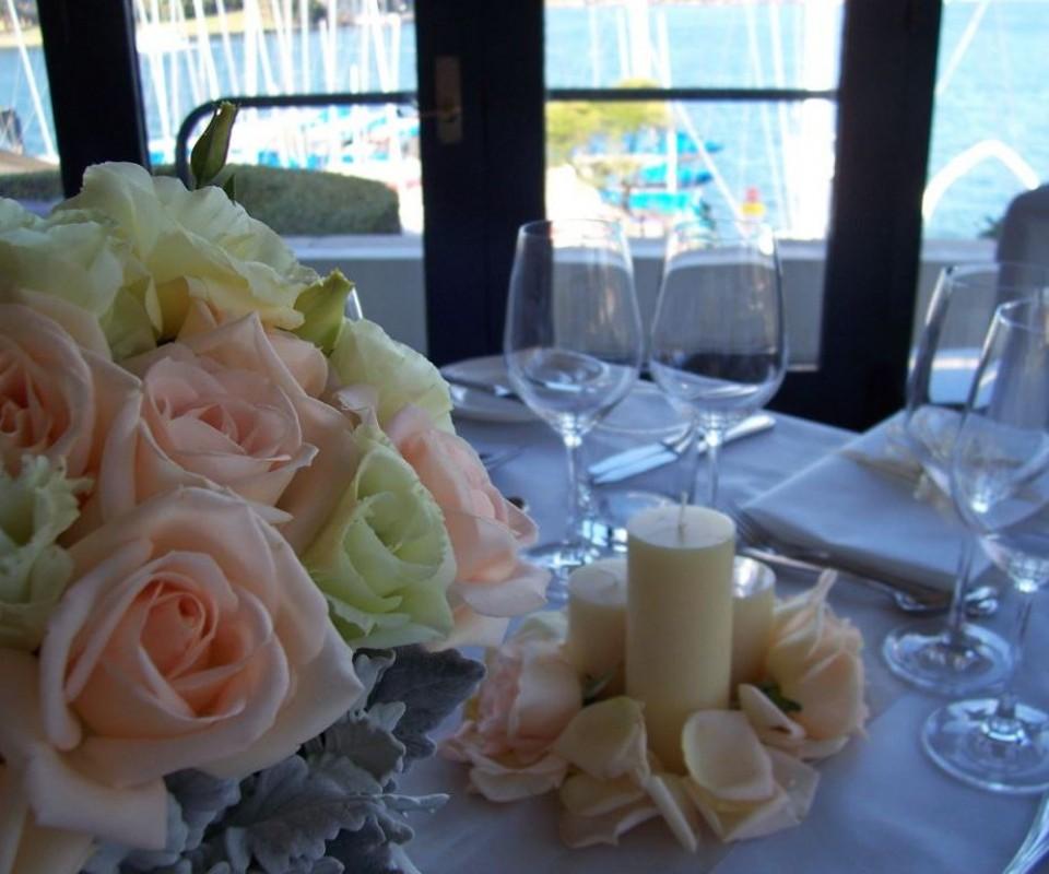 Pillar candles and rose petals