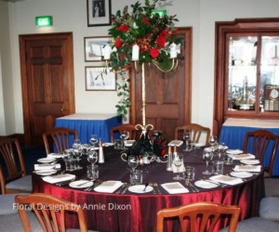 Masked Ball gold candelabra table arrangement