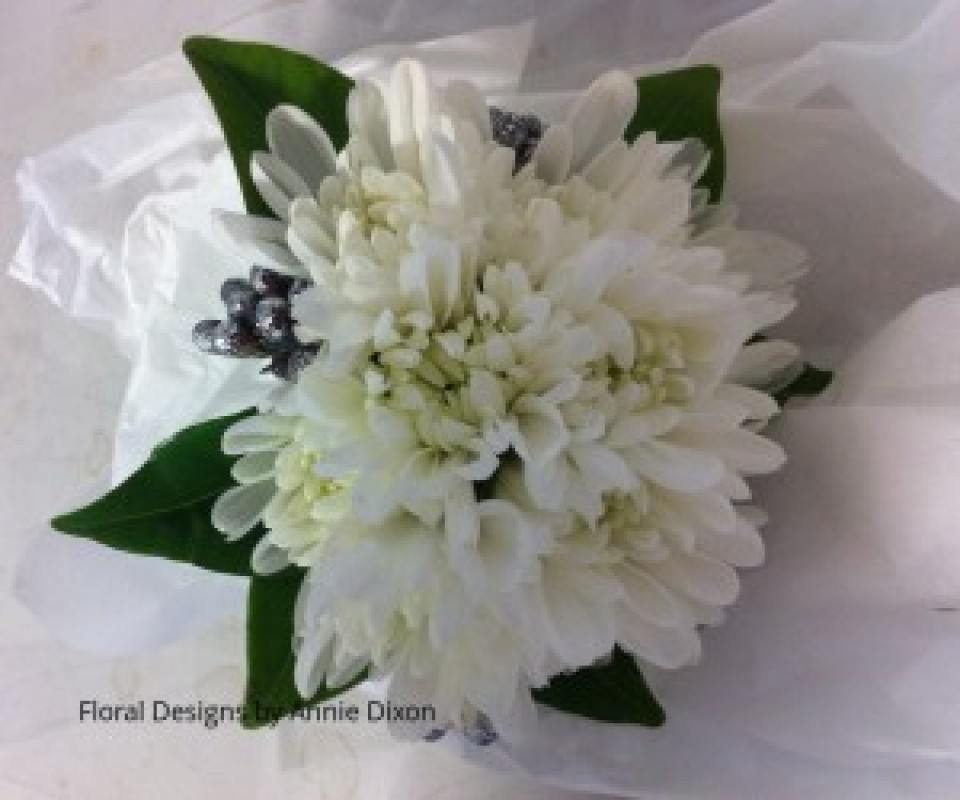 Chrysanthemum buds and silver corsage