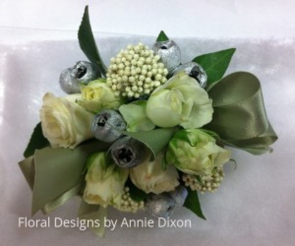 Mini rose, riceflower and silver gumnuts corsage