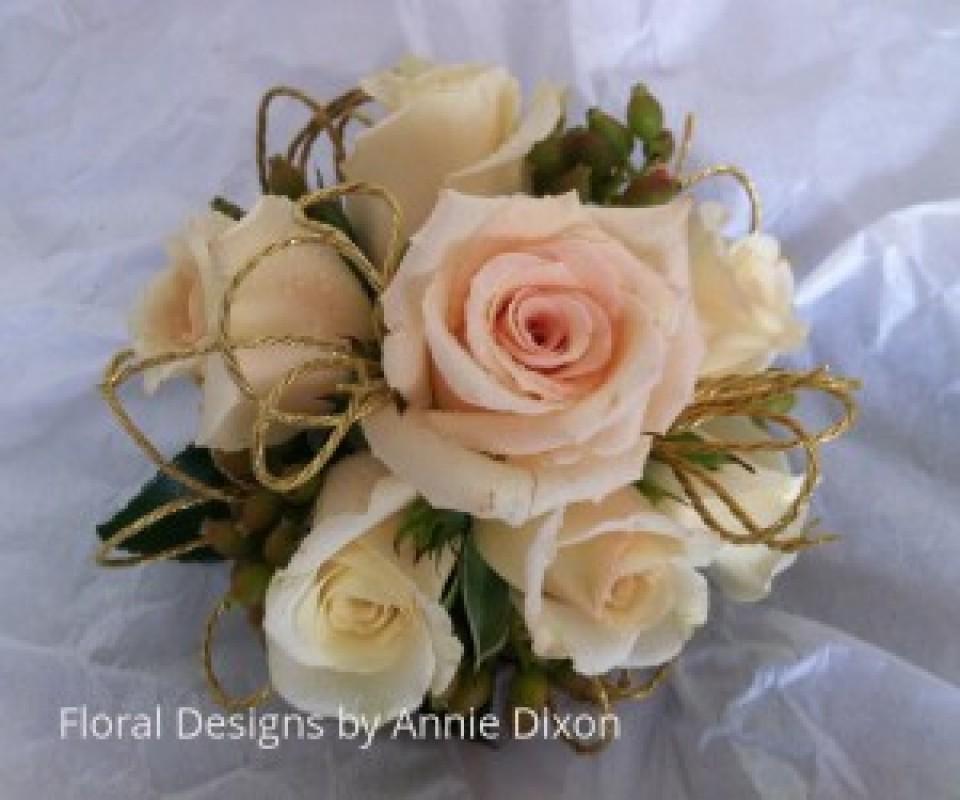 Apricot Mini Rose corsage