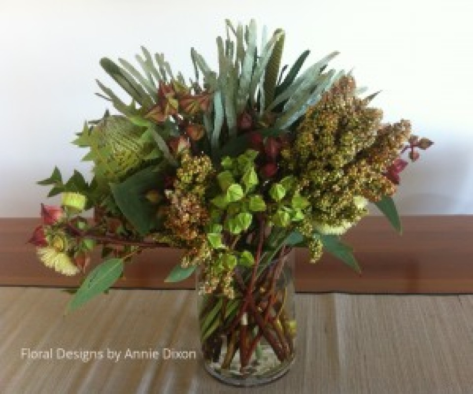 Dining room table arrangement of mixed natives