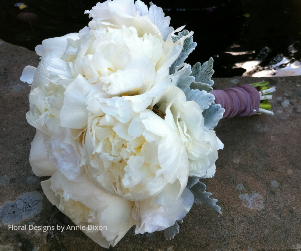 Natural stem bridal bouquet of Peonies and Dusty