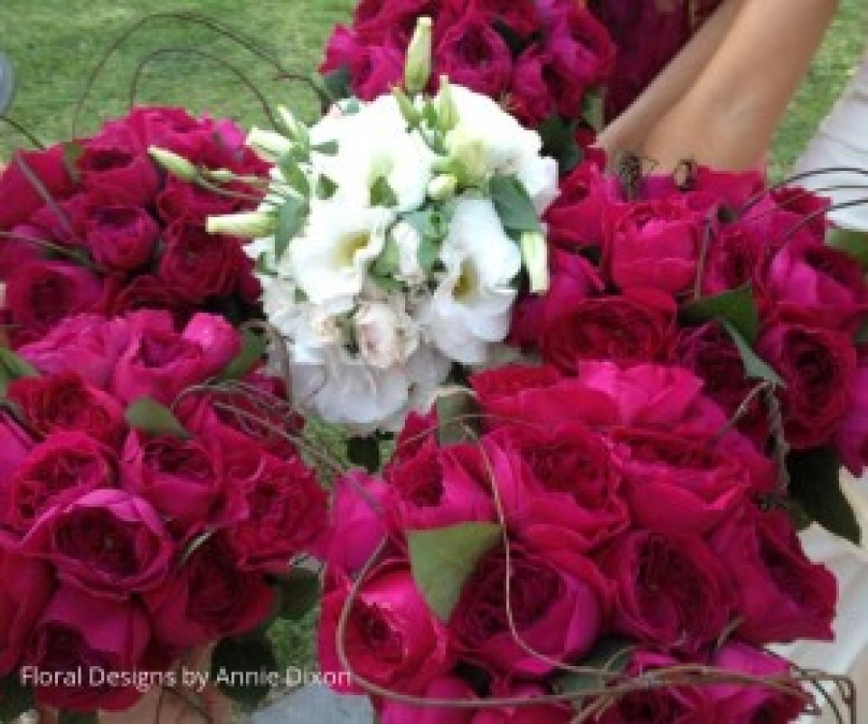 Bride's and bridesmaids' posies of burgundy David Austin roses
