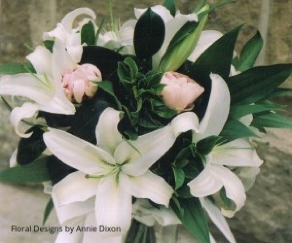 Oriental lily and peony natural stem bouquet