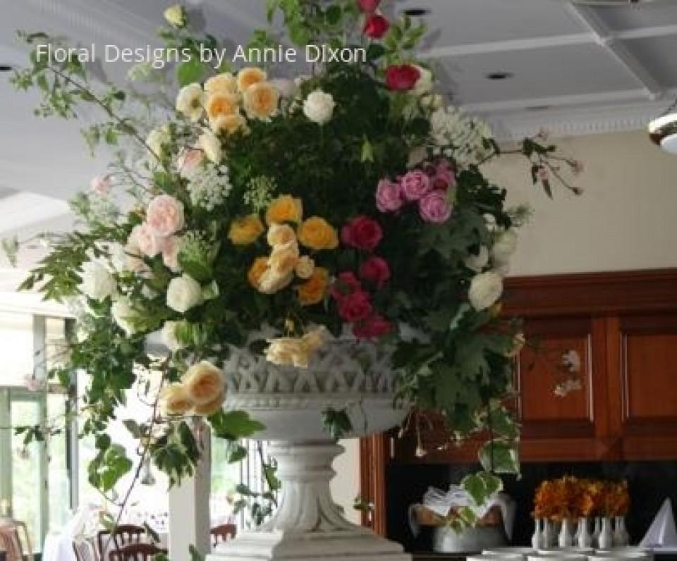 Large urn of garden roses