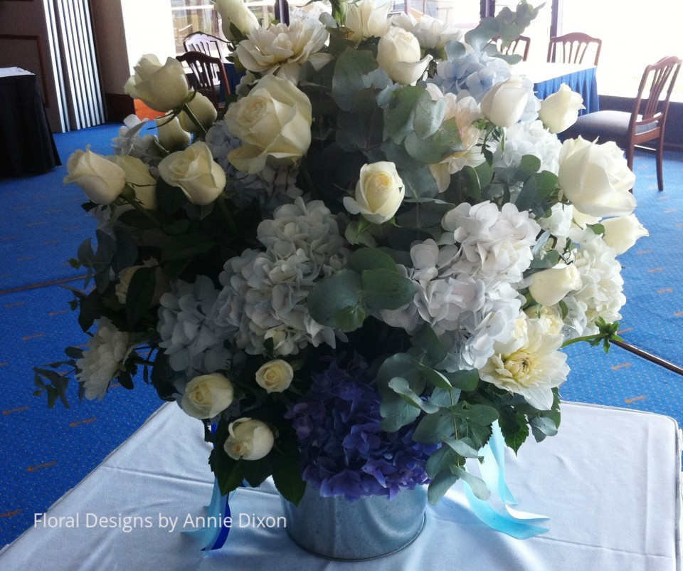 Large blue and white centrepiece arrangement