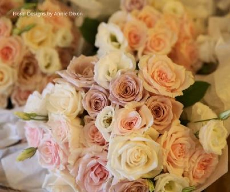 Bouquets of antique pink roses