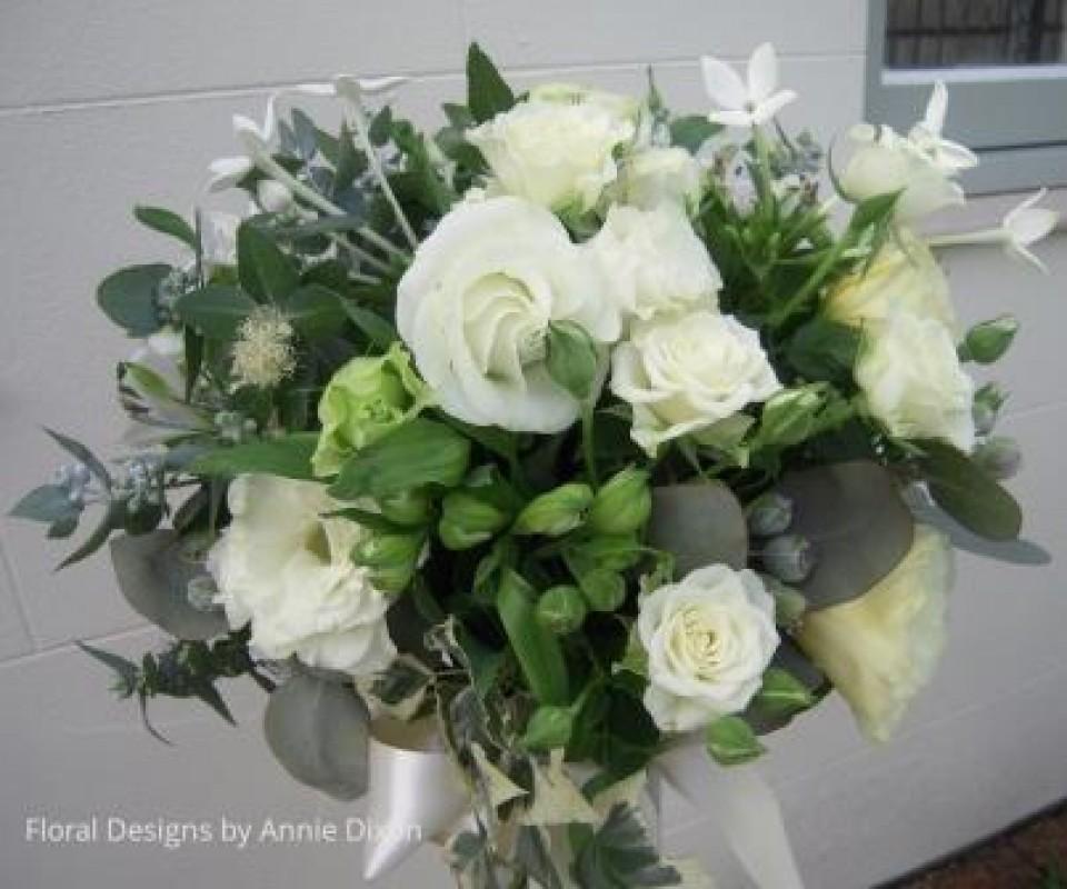 Informal bridal bouquet with gum foliage